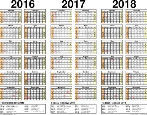 printable calendar 2015 to 2018 2016 2017 2018 calendar 3 year printable efreeshare