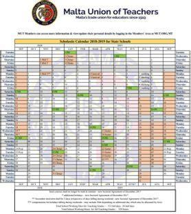 2018 2019 calendar uploaded – malta union of teachers