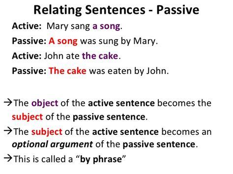 sentence pattern of passive voice unit 17 relating sentences negatives questions passive