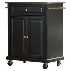 charlton home bainbridge kitchen cart with stainless steel stainless steel top kitchen cart island casters black