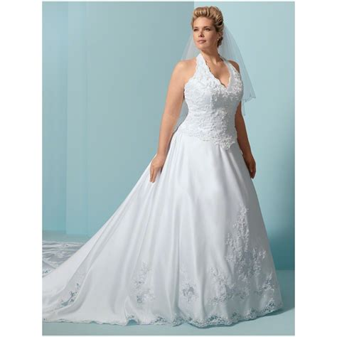 large size wedding dresses white beaded lace halter top wedding gown plus sizes mayo style