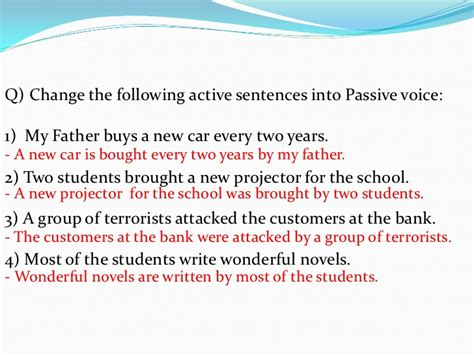 pattern in changing active to passive voice passive voice part 1 english for palestine