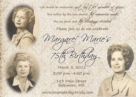 75th birthday invitation templates 80th birthday invitation wording sles