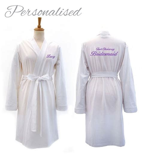 Bridesmaid Dressing Gowns by Personalised Bridesmaid Bridal White Jersey