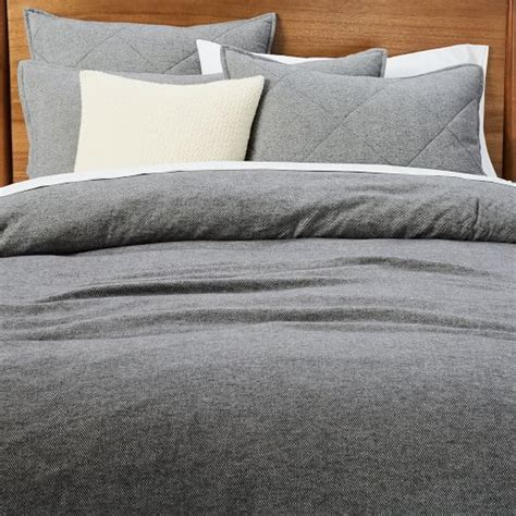 flannel duvet flannel herringbone duvet cover shams west elm
