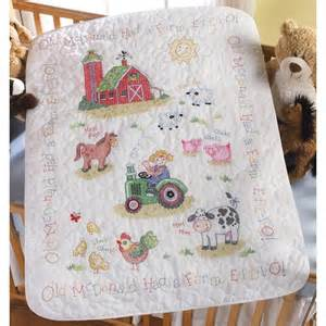 on the farm baby quilt kit bucilla sted cross stitch