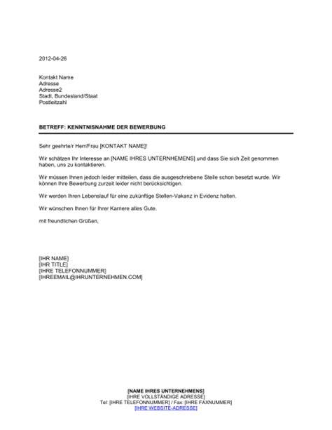 kenntnisnahme der bewerbung position vergeben vorlagen