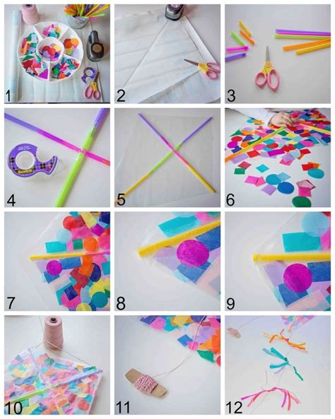 How To Make A Kite Out Of Paper And Straws - contact paper confetti kite preschool