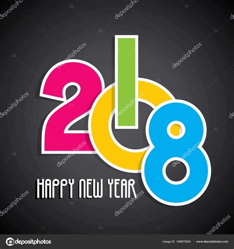 new year illustrator vector happy new year 2018 poster design stock vector