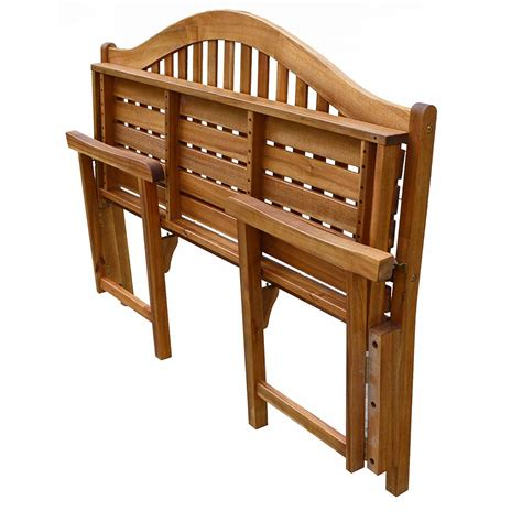 folding wood bench patio wise classic wooden folding bench 3 seater acacia