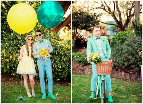 turquoise and yellow chic vintage summer wedding yellow and turquoise