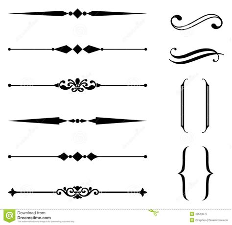 Rule Line and Ornament Set stock vector. Illustration of ...