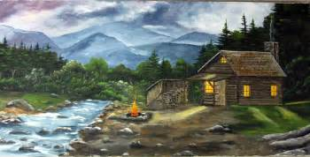 acrylic painting canvas painting cabin log cabin