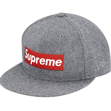 suprem cap supreme box wool fitted hats gray
