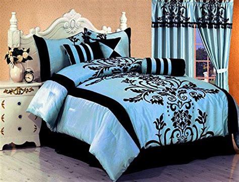 black and blue comforter set 7 pc modern black blue flock satin comforter 90 x 92