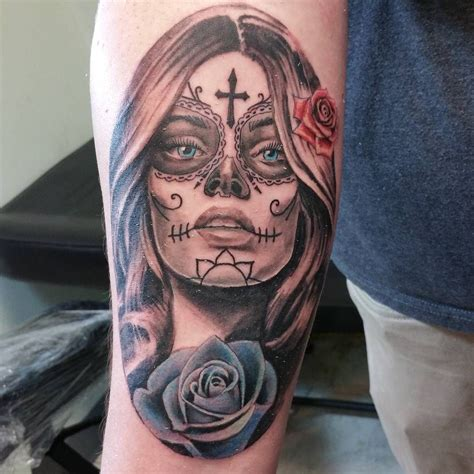 sugar skull woman tattoo realistic looking s skull on s forearm with