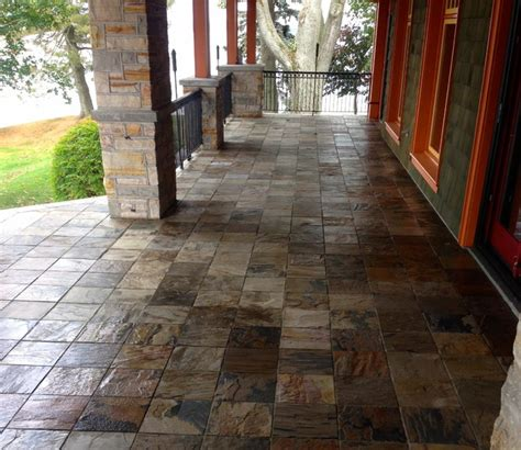 tiled porch in slate rustic other by