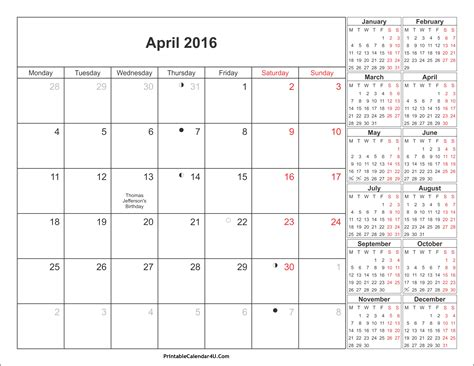 printable planner april 2016 april 2016 calendar printable with holidays pdf and jpg