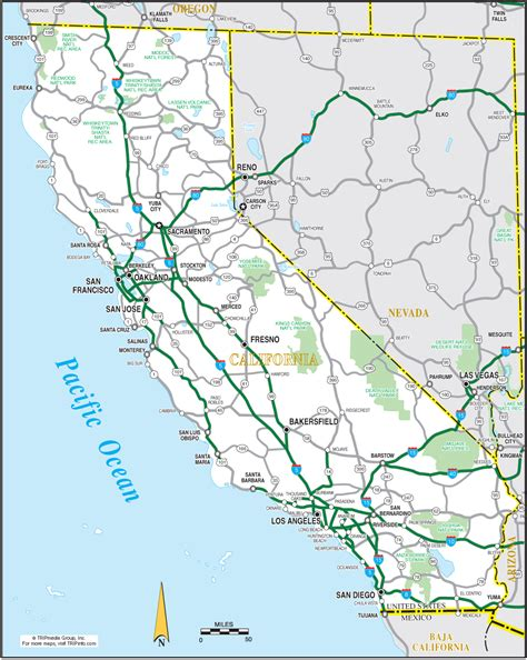 printable road map of california california map
