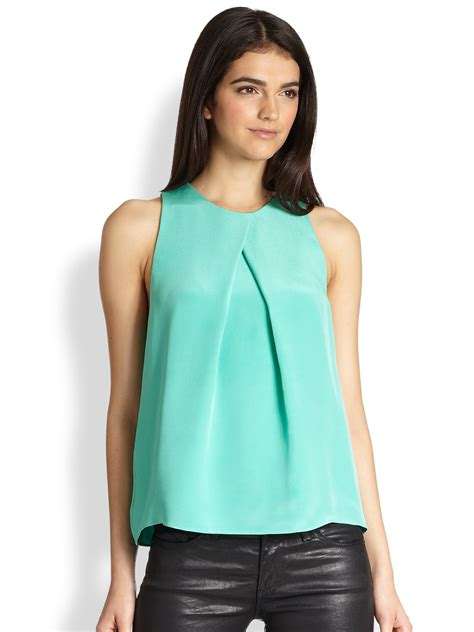 Pleats Top 28 lucille silk crepe pleated top in green lyst