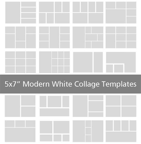 5x7 Modern White Collage Templates Discovery Center Store 5x7 Photo Collage Template