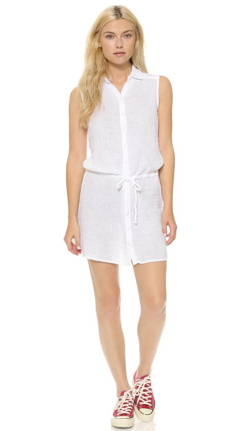 Lq 02 Ress Sweater Yiyo White lyst three dots gauze cover up dress white in white