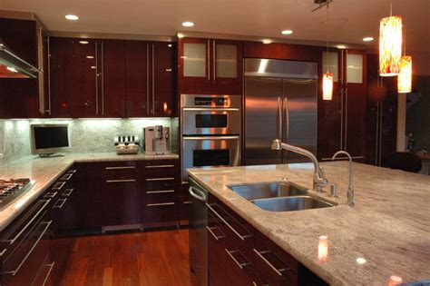 Modern Kitchen In Los Gatos High Gloss Finish Cherry Modern Cherry Kitchen Cabinets
