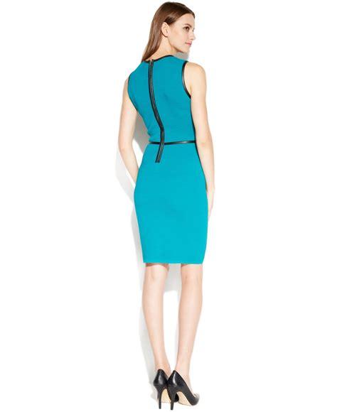 calvin klein sleeveless belted sweater dress in blue lyst