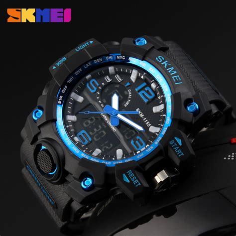 Jam Tangan Skmei 1155 Water Resistant 30m Import Original skmei 1155 waterproof outdoor sports blue gold black 11street