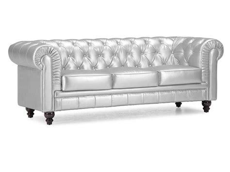 silver chesterfield sofa sof 225 ingl 233 s plateado sof 225 s chester de piel sint 233 tica 3 plazas