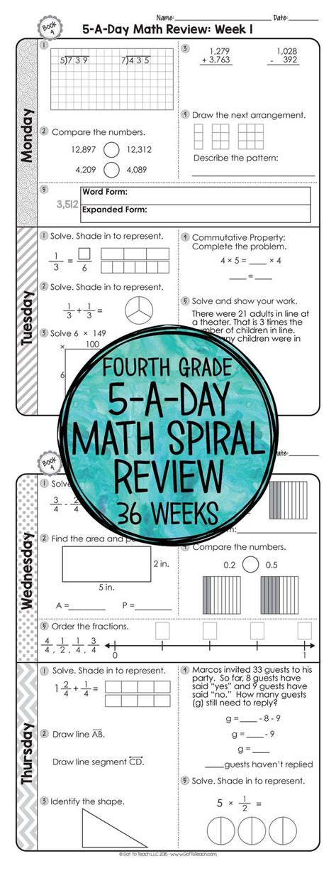 review a pattern language 4th grade daily math spiral review morning work math