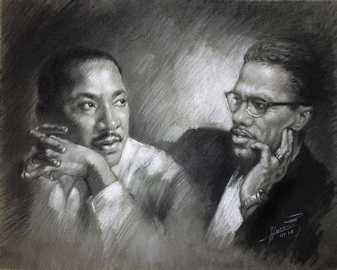 Child Duvet Cover Martin Luther King Jr And Malcolm X Drawing By Ylli Haruni
