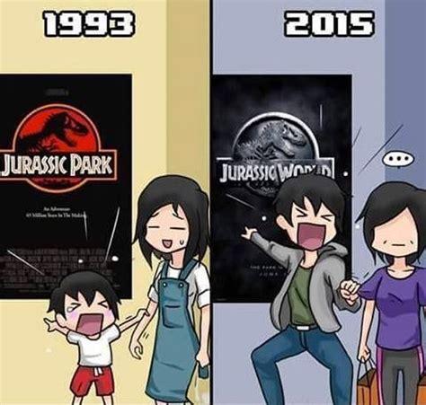 146012 600 then and now cartoons jurassic park vs jurassic world