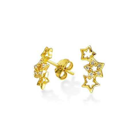 Gold Stud Earrings gold plated shooting cz small stud earrings sterling