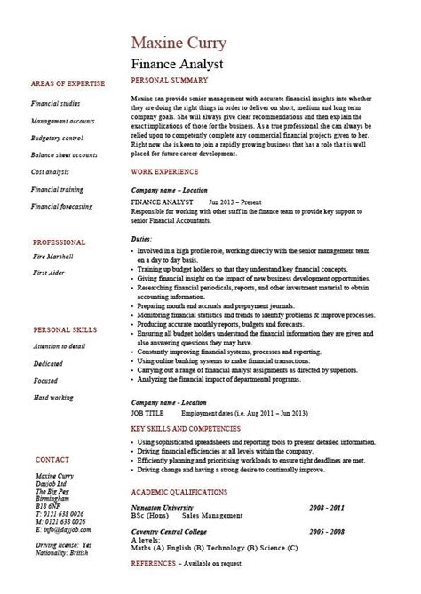 financial analyst cv template finance analyst resume analysis sle exle