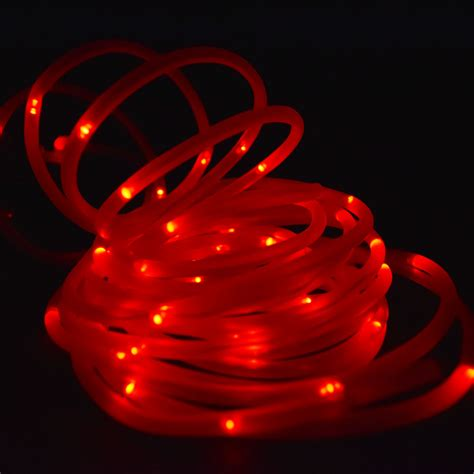 50 Red LED Solar Garden Stake Rope Tube String Light w