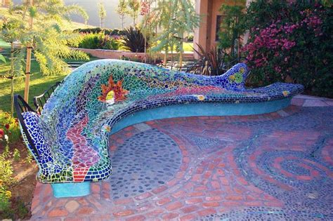 mosaic benches full mosaic outdoor bench love this pinterest