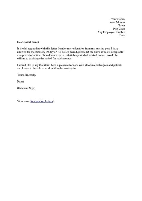 Resignation Letter Sle Uk Nhs Resignation Letter Format Top Exles Of Resignation Letters For Nurses Uk Hospital Clinic