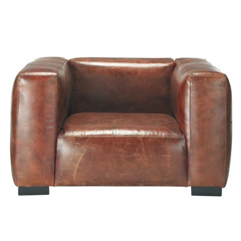 Brown Armchairs by Leather Armchair In Brown Maisons Du Monde