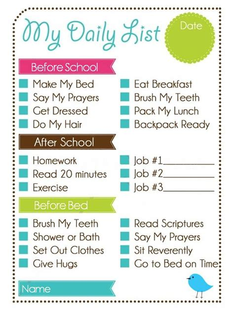 printable to do list for students printable weekly chore chart kids daily list and chore