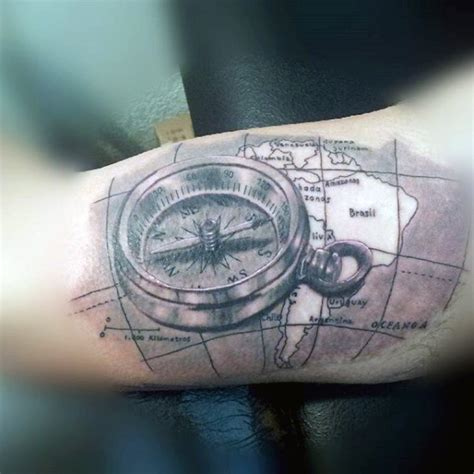 tattoo compass 3d wonderful black ink 3d compass with map tattoo on arm