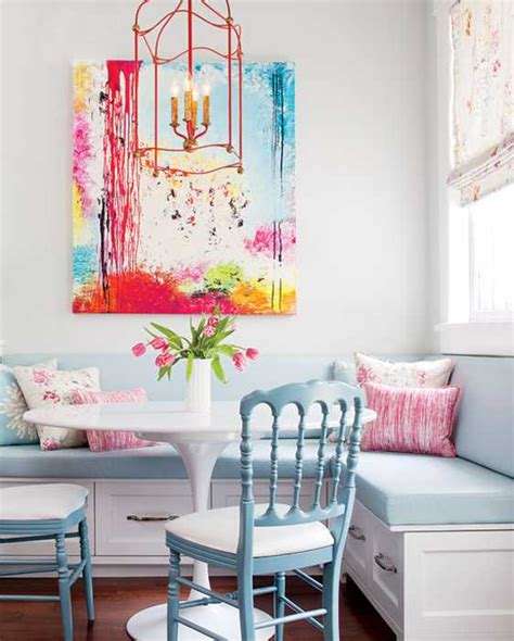 Pink And Blue Kitchen Decor by White Kitchen Decorating With Colorful Accents In