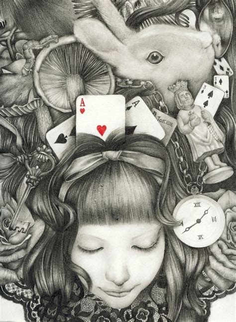 alice wonderland amazing drawing illustrations