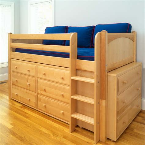 twin loft beds twin low loft bed with built in dressers by maxtrix kids natural 600