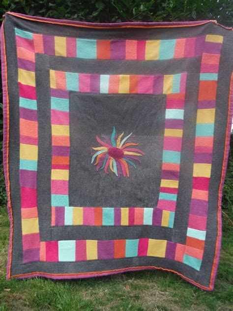 Patchwork Quilting Blogs Uk - wonky patchwork wool flower quilt