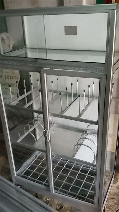 Lemari Buku Tupperware Alumunium 80 jual rak piring aluminium hendra kaca aluminium