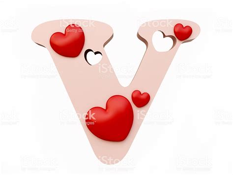 Heart Alphabet Letter V Stock Photo & More Pictures of ... V Alphabet Images In Heart