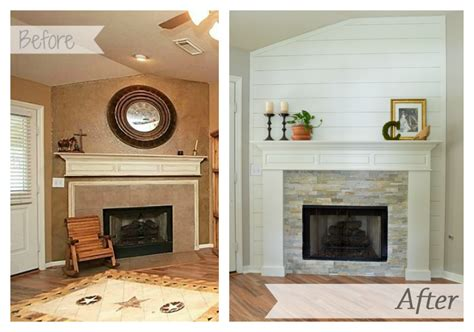 farmhouse fireplace makeover reveal bricks lowes and house