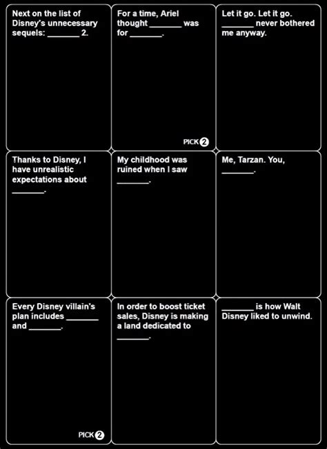 cards against disney template disney cards against humanity may be coming out soon and