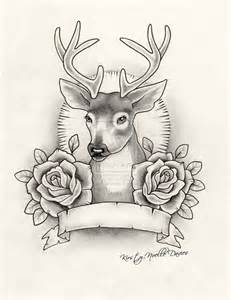 stag designs stag and roses tattoo design by kirstynoelledavies on
